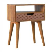 Hand Crafted Scandinavian Solid Wood Bedside Table With Perforated Copper Drawer
