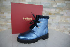 Baldinini Trend Gr 39 Stiefeletten Fell 848200 Schuhe blau NEU ehem UVP 380 €