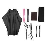 8Pcs Ciseaux de coupe de cheveux Kit de rasoir plus mince Kit Barber Cape Salon