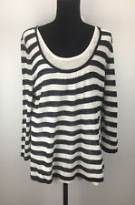 Ellen Tracy Top XL Knit Double Layer Stipe Scoop Neck 3/4 Sleeve $399 (H131)