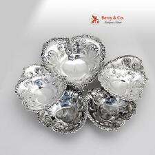 Set Of 7 Heart Form Repousse Candy Or Nut Dishes Sterling Silver Gorham 1896