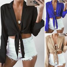 Women Deep V-Neck Crop Top Tie Front Long Sleeve Blouse Chiffon T-Shirt Tops Tee
