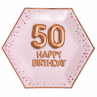 "8 x ROSE GOLD 9"" PLATES 50 HAPPY BIRTHDAY GLITZ & GLAM 50th PARTY PINK HEXAGON"