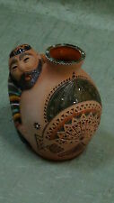 ANTIQUE  ISLAMIC BUHARA MIDDLEEASTERN POTTERY HANDPAINTED SCULPTURAL JAR