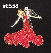FANCY DANCING COUPLE RED DRESS~IRON ON APPLIQUE PATCH