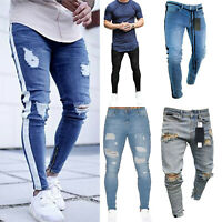 Mens Jeans Distressed Ripped Slim Skinny Stretch Pants Trousers Fashion Outwear