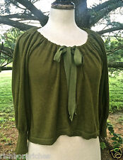 Neiman Marcus Trina Turk olive green cardigan sweater jacket tie bow neck NWOT M