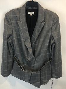 Tahari Arthur S Levine Women's SZ 18 Gray Windowpane Belted Blazer Jacket NWT