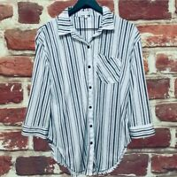 ANTHROPOLOGIE EDEN & OLIVIA WHITE STRIPED WOMENS SHIRT TOP BLOUSE MEDIUM