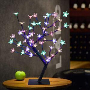 48 LED Fairy Light Up Cherry Blossom Bonsai Tree Table Lamp Easter Home Decor