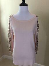 NEW W/o Tags Women's ZARA Pink Knit Sweater W/ Rhinestone Sleeves Medium