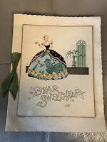 Antique Christmas Card Classic Ribbon Foiled 1920s Sweetheart Vintage Embossed