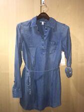 Liz Lange Maternity Shirt Medium Blue Soft Denim Long Sleeve Top Tie Belt Sz S