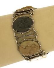 Antique Hand Carved Lava Cameos Marcasite Sterling Oval Link Bracelet