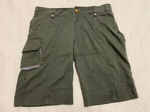 ELWOOD DENIM Women's Khaki cargo Shorts ~ Roll Up ~ Size M