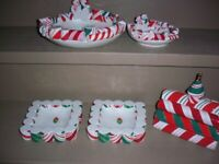CLEARANCE!!  Hallmark Christmas Candy Cane Place Bowls, Candy Dishes