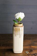 Handmade Cream Ceramic Square Flower Vase Home Glossy Gift Rectangle Decorative
