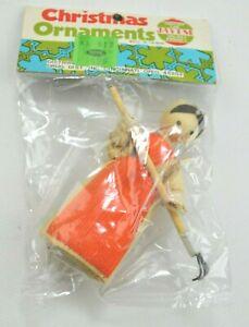 Vtg Corn Husk Miniature Folk Art Farm Country Woman Garden Doll Figure Ornament