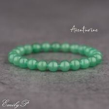 Green Aventurine Natural Semi Precious Gemstone 8mm Beaded Bracelet Stretch