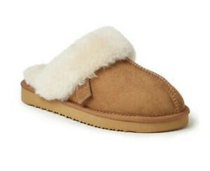 NWT Dearfoams Fireside Women's Suede Slippers Scuff Slip On Shearling wool s 7