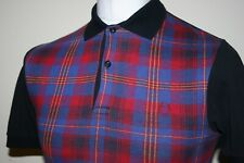 Fred Perry Regal Blue/Red/Black Tartan Check Polo Shirt XS/S Rare Mod Casual Top
