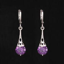 Earring Hollow Hoop Long Cubic Zircon Drop Jewelry for Women Dangle Earrings Purple