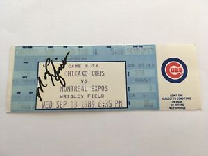 Marquis Grissom Signed 1989 Chicago Cubs Montreal Expos Full Baseball Ticket