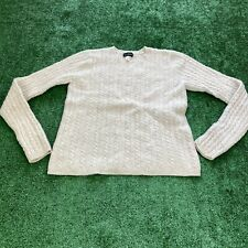 Vintage J Crew Lambs Wool Cableknit Sweater White Size Medium Women's