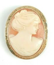 Antique ACCO 14K Gold Victorian Lady Large Carved Shell Cameo Brooch Pin Pendant