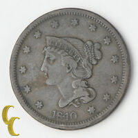 1840 Braided Hair Large Cents 1c (Very Fine VF) Natural Brown Color, Nice Detail