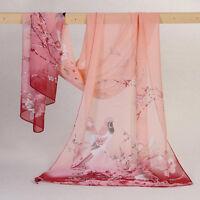 Women Long Soft Wrap Lady Shawl Silk Chiffon Scarf Printed Stole Scarves Pink UK