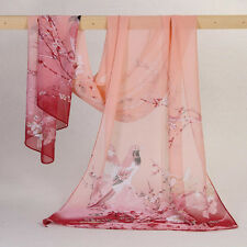 Women Long Soft Wrap Lady Shawl Silk Chiffon Scarf Printed Stole Scarves Pink