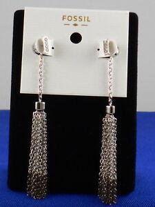 Fossil Brand Silvertone Hematite-tone Chain Tassel Earrings JOA00353 $48