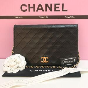 Authentic  CHANEL Flap Matelasse Black Lambskin Leather Shoulder Handbag Bag