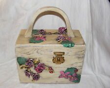 Vintage 60's White Wooden Box Purse Artist Signed Decorative Pink Floral Design