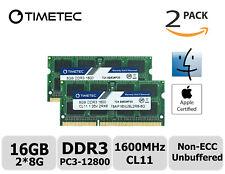 Timetec 2x8GB DDR3 1600MHz PC3-12800 Non-ECC 1.35V 2Rx8 SODIMM Apple Memory RAM