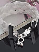 Ladies 925 silver weaved stunning boxed bracelet bangle jewellery present gift