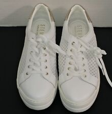 Steven Natural Comfort Napa Leather Womens Sneaker Lace Up Mesh White 10M
