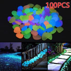100 PCS Glow In The Dark Stones Pebbles Rock For FISH TANK/AQUARIUM/Garden/Road