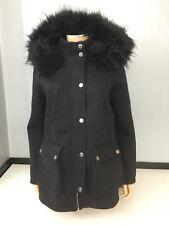 Lipsy Womans Black Coat Jacket Faux Fur Size Uk 12 Long Sleeve Winter Thick