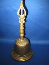 "7.5"" Tal Dia 3.5""l Antique German Embossed Solid Heavy  Brass  Bell weighs 13 oz"