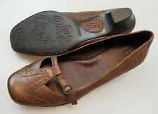 BORN Brown Leather Slip On Heels Low Vamp Shoes Women's US 8.5
