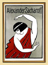 Poster A. sacharoff by Alexei Jawlensky of dancers Bavaria XL 228 in Gold Frame