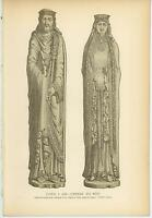 ANTIQUE KING CLOVIS I QUEEN COLTILDE WIFE STATUES NOTRE DAME CHURCH OLD PRINT
