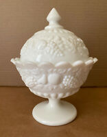 Antique Westmoreland Fruited Milk Glass Compote Pedestal Covered Candy Nut Dish