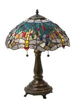 """Meyda Lighting 22""""H Tiffany Hanginghead Dragonfly Table Lamp Stained Glass Decor"""
