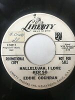 "Rockabilly Promo 45/ Eddie Cochran ""Hallelujah I Love Her So""     Clean!   Hear"