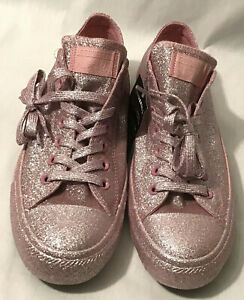 Converse Chuck Taylor All Stars Pink Glitter Shoes, Size 11 (Women)/ 9 (Men)