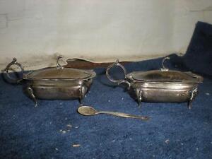 2 Antique Silver English Pot Salt Cellar w/ spoon
