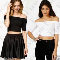 New Women Ladies Girls Off Shoulder Bardot Crop Top Summer Casual Regular SM -ML